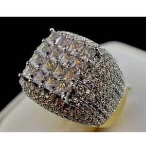 Iced Out MENS RING High Quality Solid Silver Gold